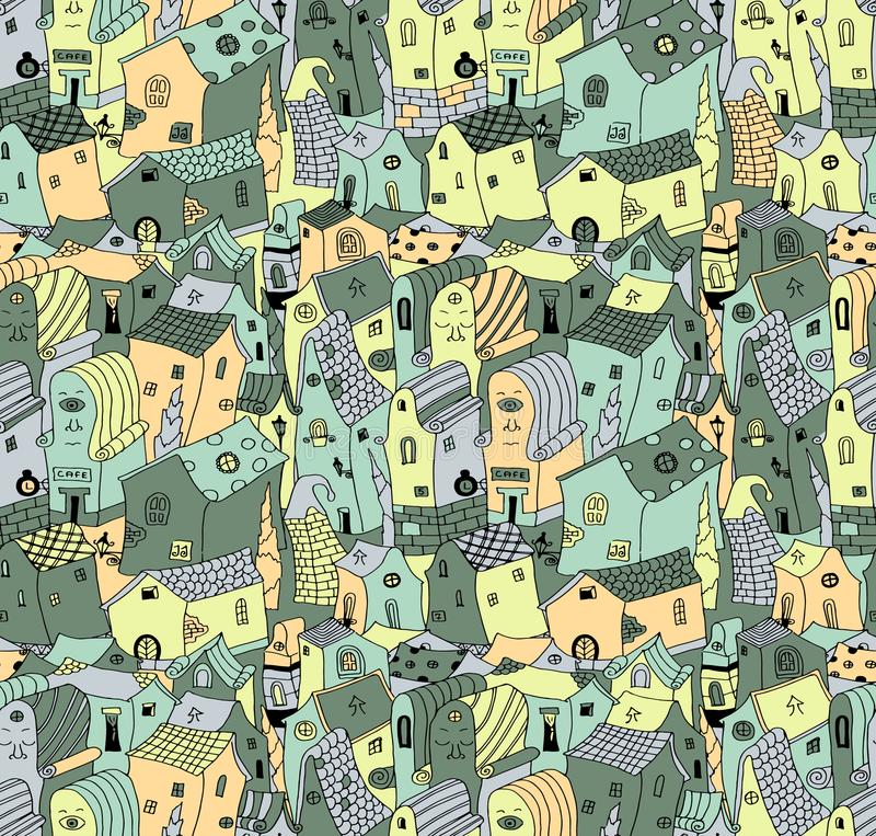 Seamless colorful pattern of cute cartoon houses royalty free illustration