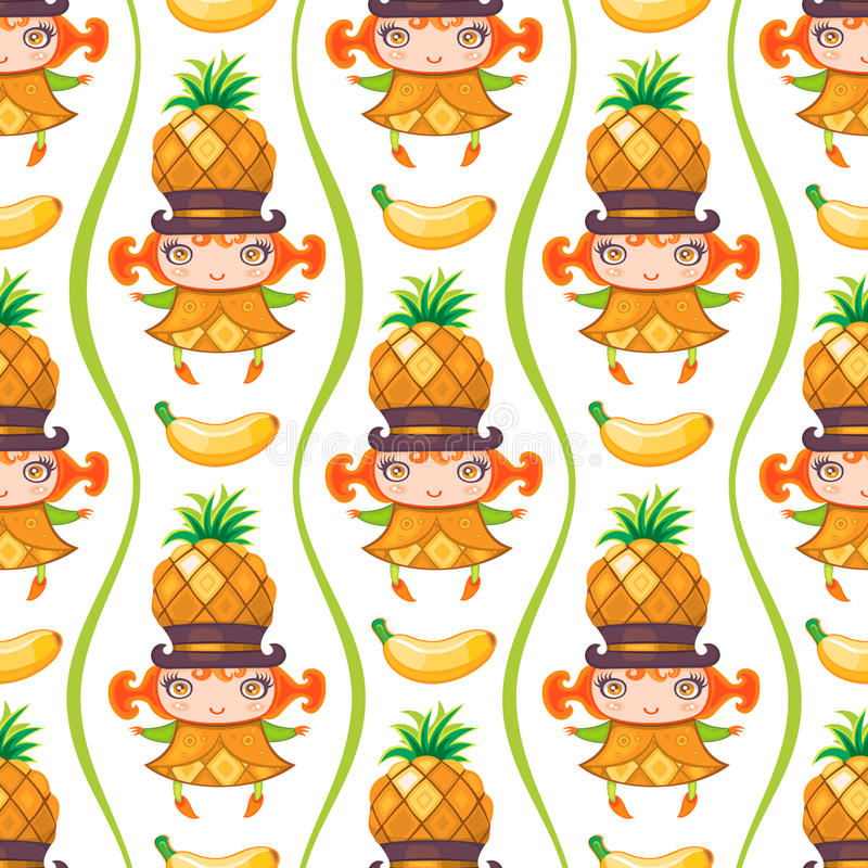 Seamless colorful pattern with Pineapple fruit girl. Vector background stock illustration