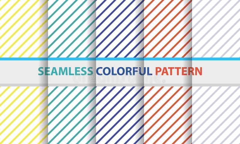 Seamless colorful pattern set. Stripe diagonal line shape, abstract background. royalty free illustration