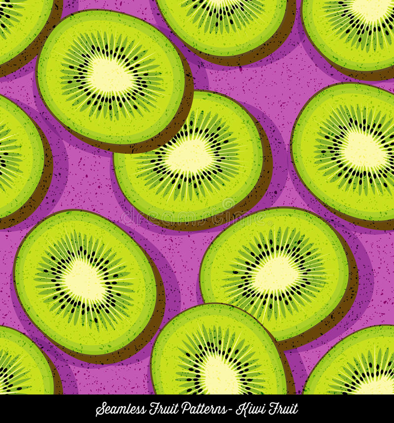 Seamless colorful pattern of sliced kiwi fruit stock illustration