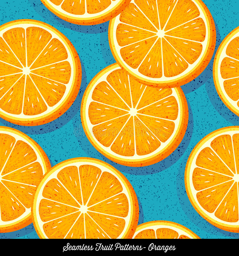 Seamless colorful pattern of sliced oranges vector illustration