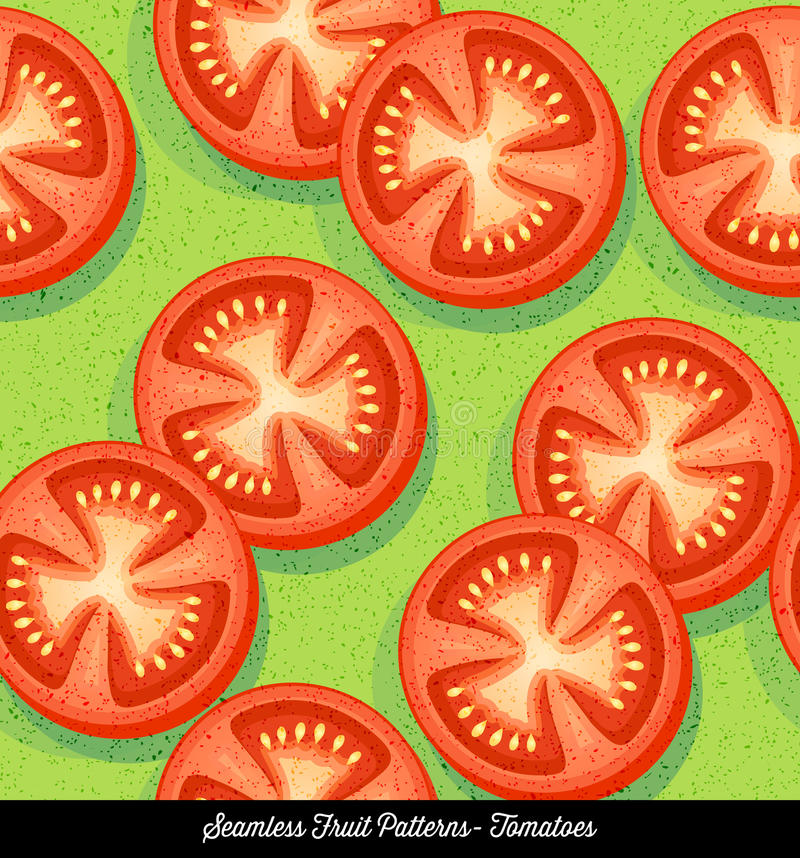 Seamless colorful pattern of sliced tomatoes stock illustration