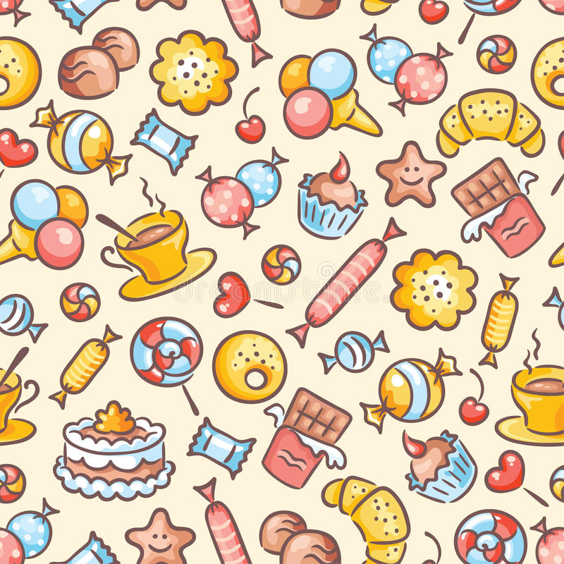 Free Seamless Colorful Sweets Pattern Stock Photos - 44760163