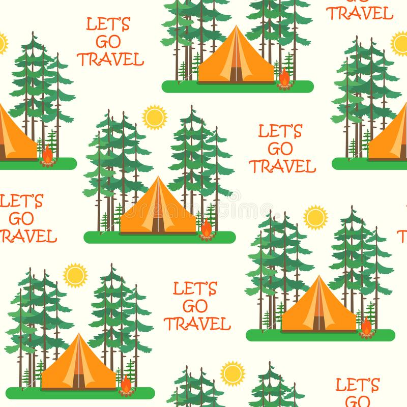 Seamless colorful tents pattern. Camp tent in forest. Vector illustration vector illustration