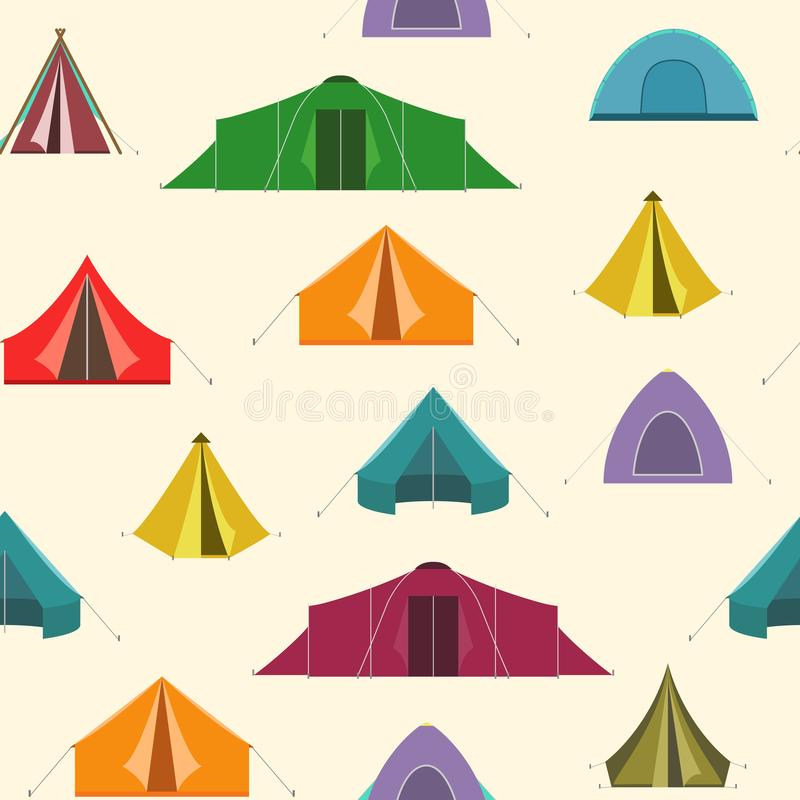 Seamless colorful tents pattern. Vector illustration stock illustration