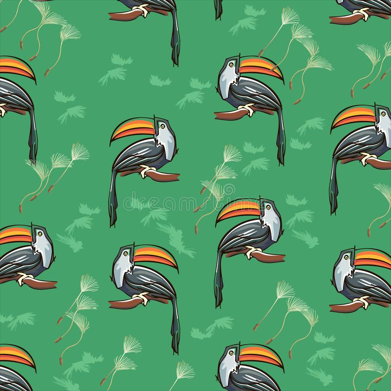 Summer exotic tropical seamless pattern with toucans and watermelons. Trendy illustration, textile print, wrapping paper, c stock illustration
