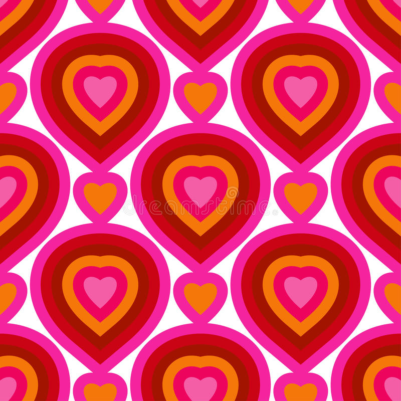 Seamless colorful vector hearts pattern. Texture for cover, paper, gift, fabric, textile. Ornament for Valentines Day stock illustration