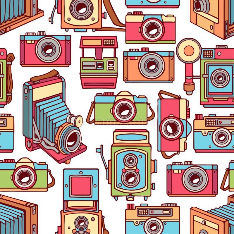 Seamless colorful vintage cameras vector illustration