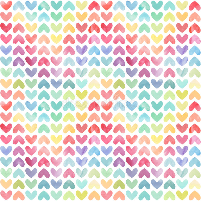 Seamless colorful watercolor painted hearts pattern. Valentine's day background. Vector illustration Vector eps 10 stock illustration