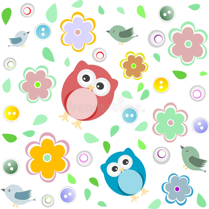 Seamless colourful owl pattern for kids stock illustration