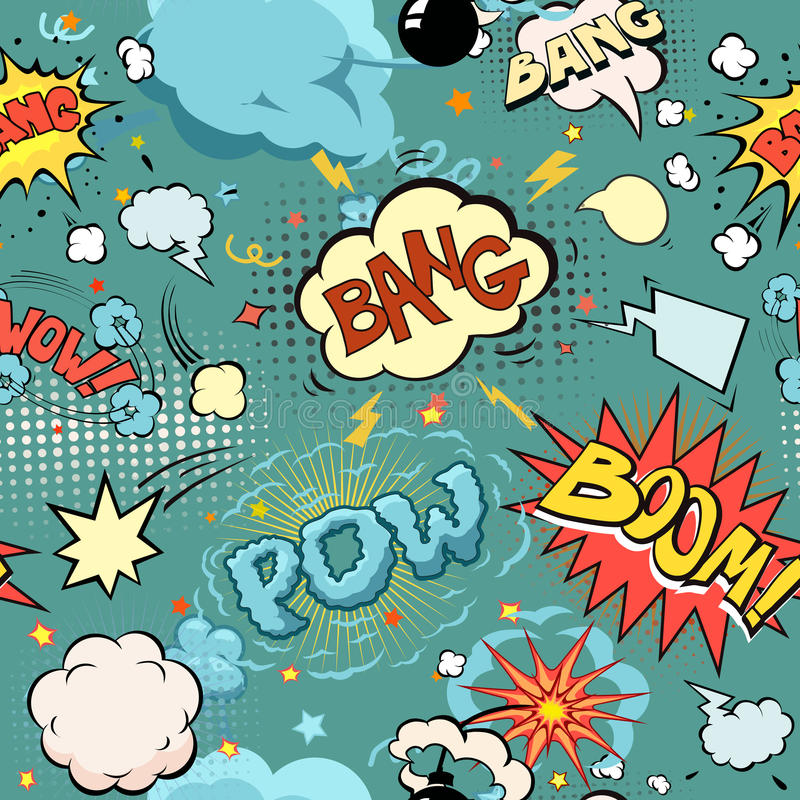 Seamless Comic Book Explosion, Bombs And Blast Set. Bubbles for speech, different sounds and arrows vector royalty free illustration