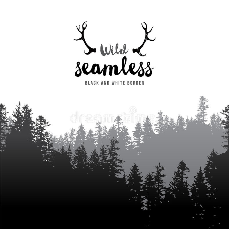 Seamless coniferous forest border vector illustration