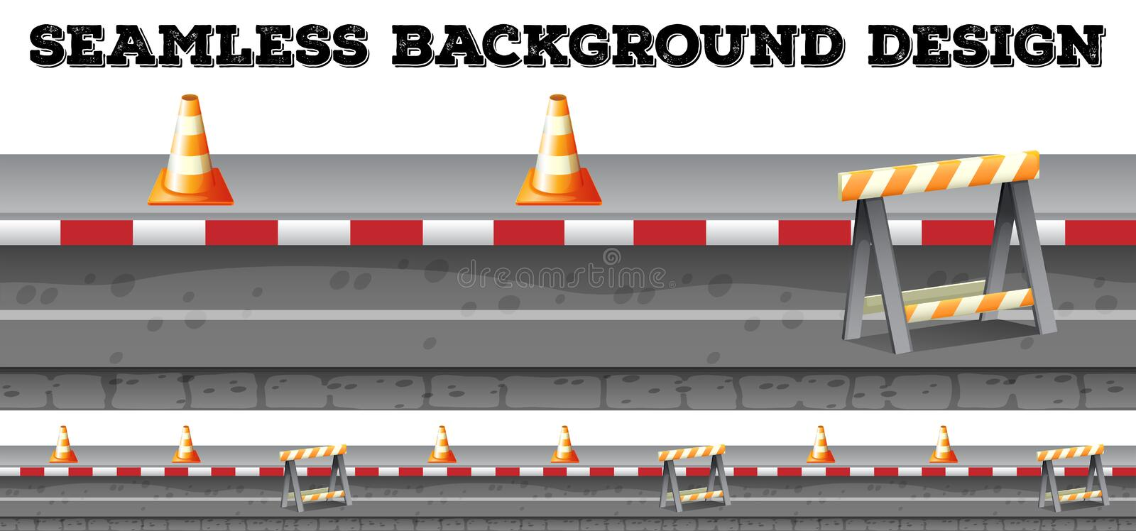 Seamless construction along the road. Illustration vector illustration