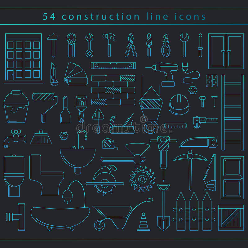 Seamless construction icons stock photo