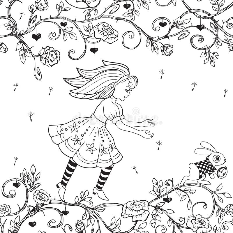 Seamless Contour Drawing. Alice In Wonderland. Coloring Book Stock Vector -  Illustration Of Rabbit, Engraving: 171866689