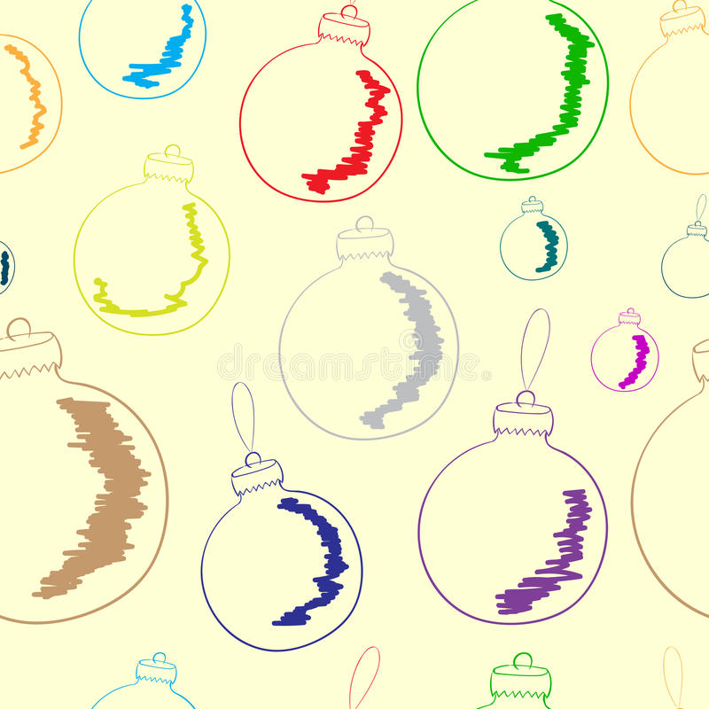 Seamless contours of Christmas balls. Seamless texture with color Christmas balls on the brown stock illustration