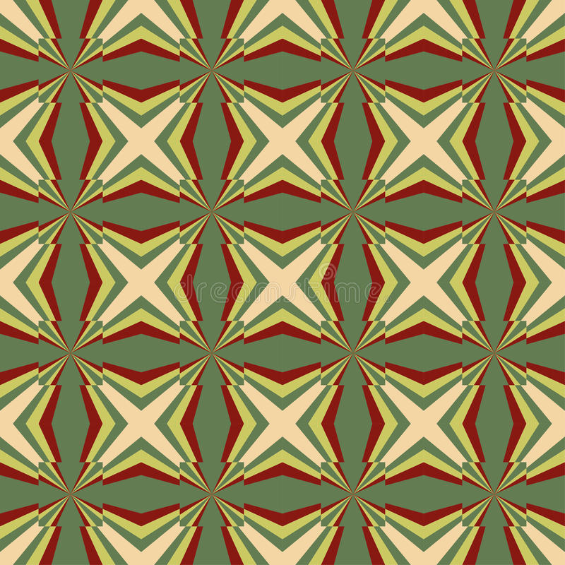 Seamless contrast geometric pattern with beige and brown stars or cross on green color background. stock illustration