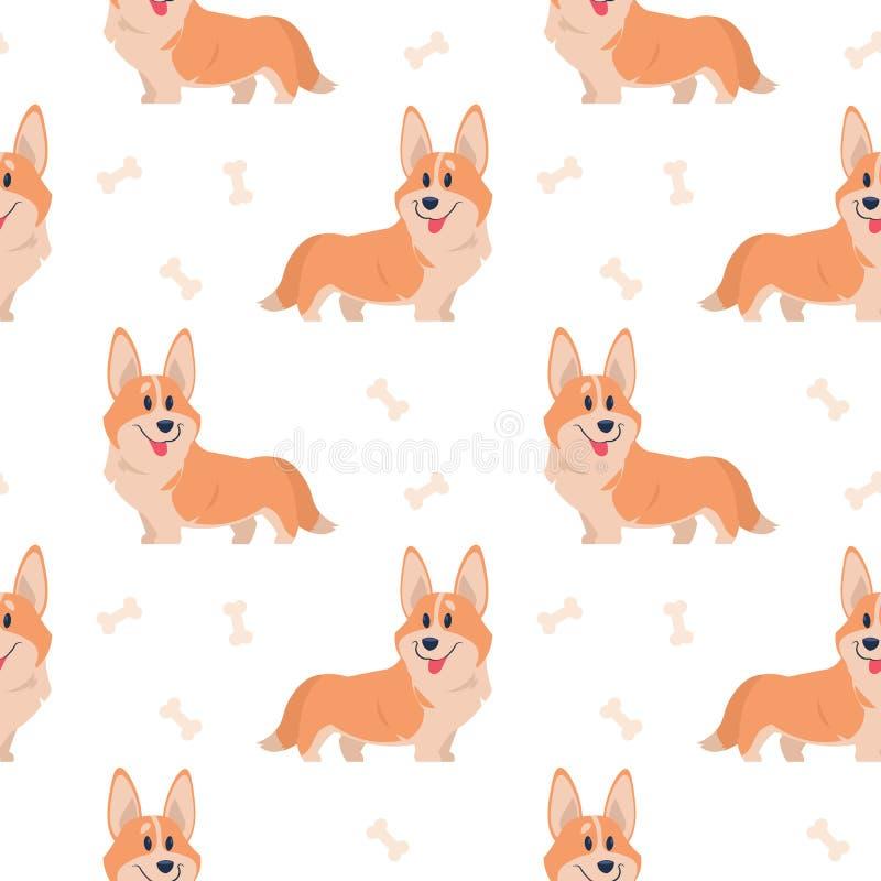 Seamless corgi pattern. Cartoon home pet, set of cute puppies for print, posters and postcard. Vector corgi animal vector illustration