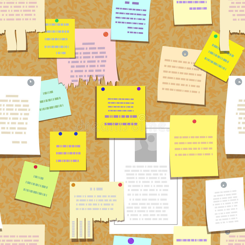 Seamless cork bulletin board with notes, advertise. Seamless cork bulletin board with notes, cards, advertise stock illustration