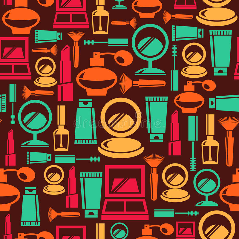 Seamless cosmetic pattern. Seamless pattern with cosmetic icons