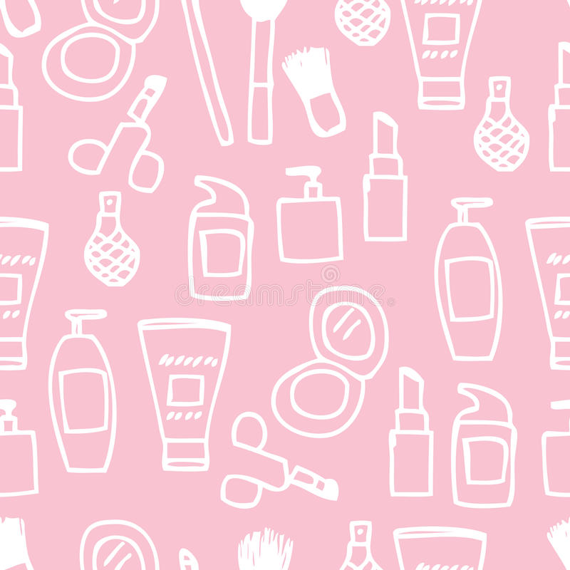 Seamless Cosmetics Icon. Illustration of cute hand drawn cosmetics icon seamless pattern vector illustration