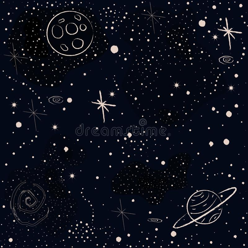 Seamless Cosmic Pattern with stars, planets,  rocket, spiral galaxies and constellations stock illustration