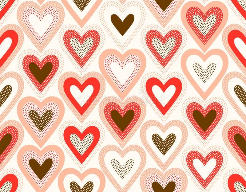 Seamless creative stylish doodle dots heart playful pattern royalty free illustration