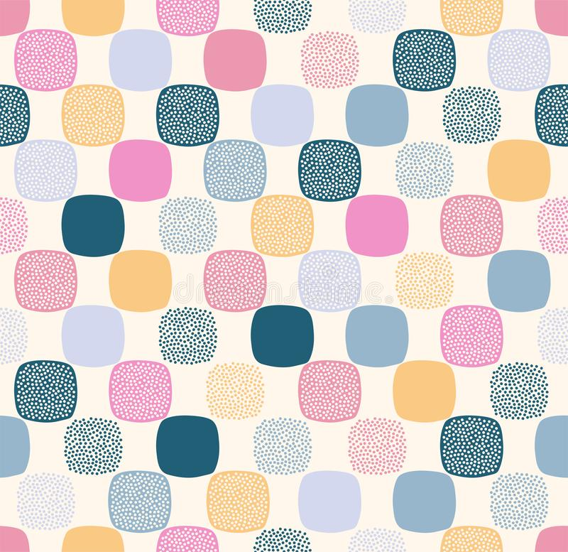 Seamless creative stylish rounded square with dots textured playful pattern stock illustration