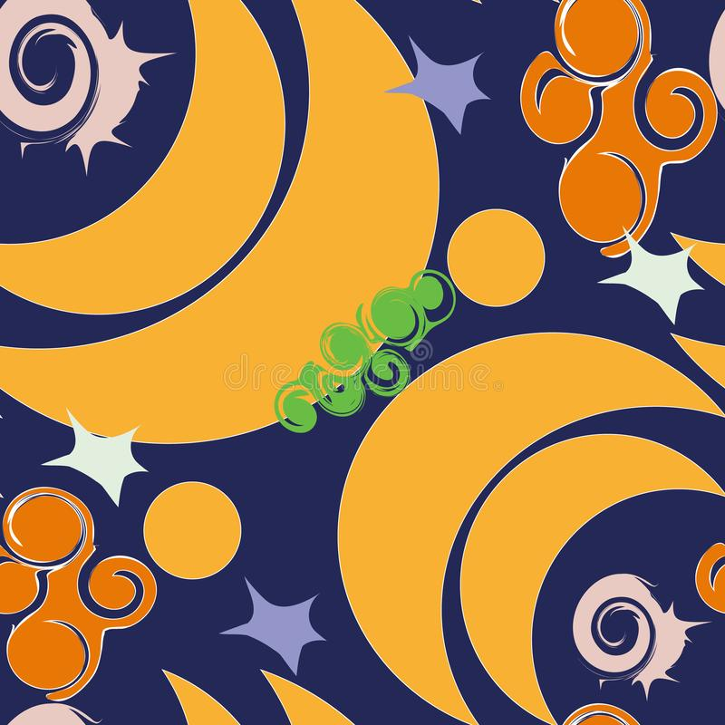 Seamless Crescent moon background with snails stock images