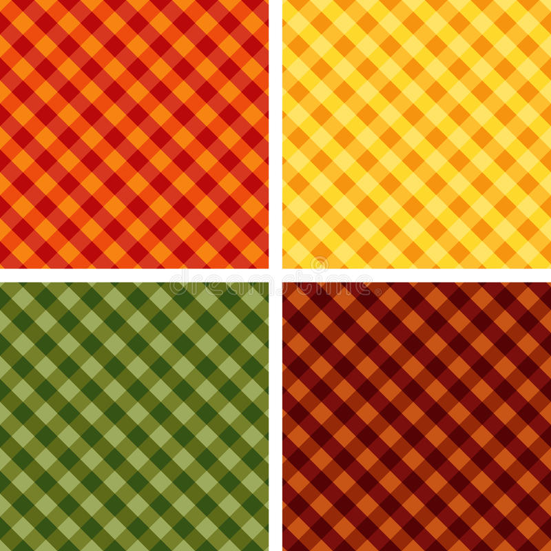 Free Seamless Cross-weave Gingham Backgrounds, 4 Harvest Hues Royalty Free Stock Images - 10754819
