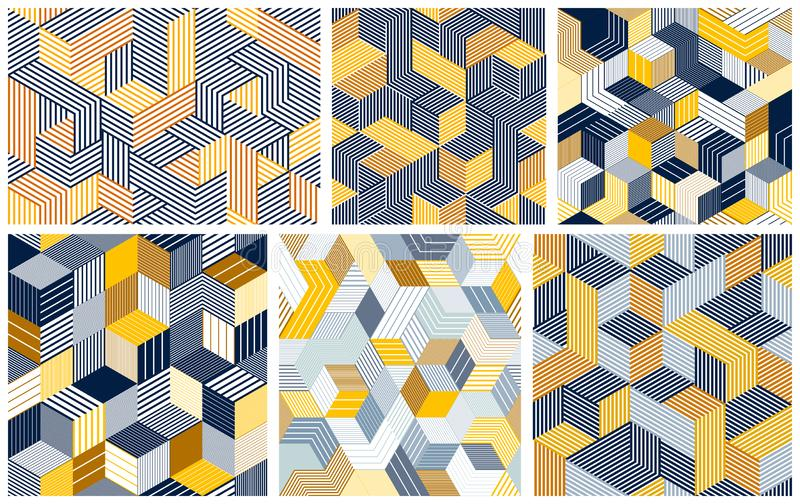 Seamless cubes vector backgrounds set, lined boxes repeating tile patterns, 3D architecture and construction. Seamless cubes vector backgrounds set, lined boxes vector illustration