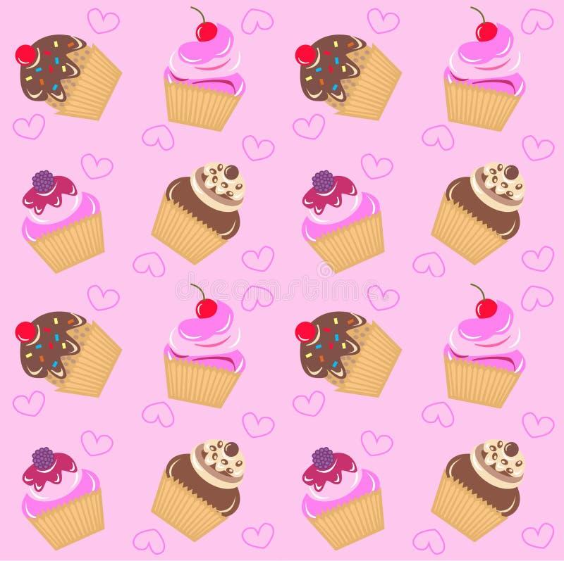 Seamless cupcake pattern royalty free illustration