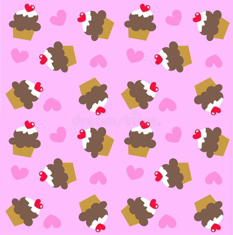 Seamless cupcake pattern royalty free stock photo