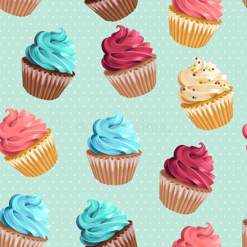 Seamless cupcakes and polka dot royalty free illustration