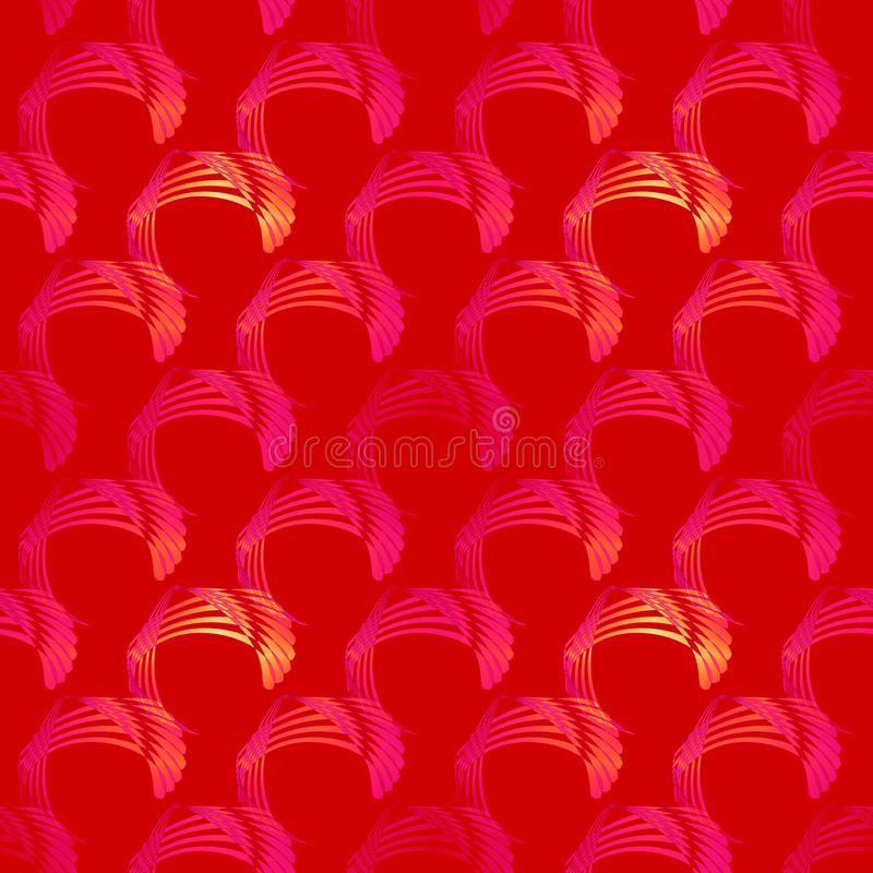 Seamless curved pattern red yellow orange magenta violet diagonally stock illustration