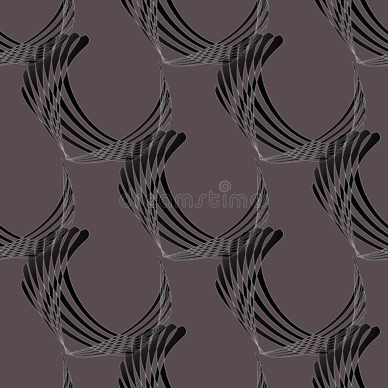 Seamless curved stripes pattern dark gray brown black diagonally. Abstract geometric seamless modern background. Regular curved stripes pattern dark gray, brown vector illustration