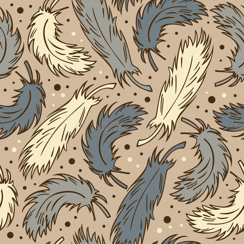 Seamless cute background with plumes. Decorative romantic pattern with feathers can be used for wallpapers, craft papers, prints, stock illustration