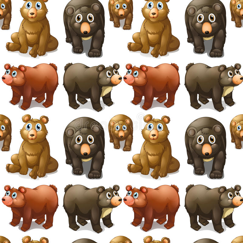Seamless cute bears and cubs. Illustration vector illustration