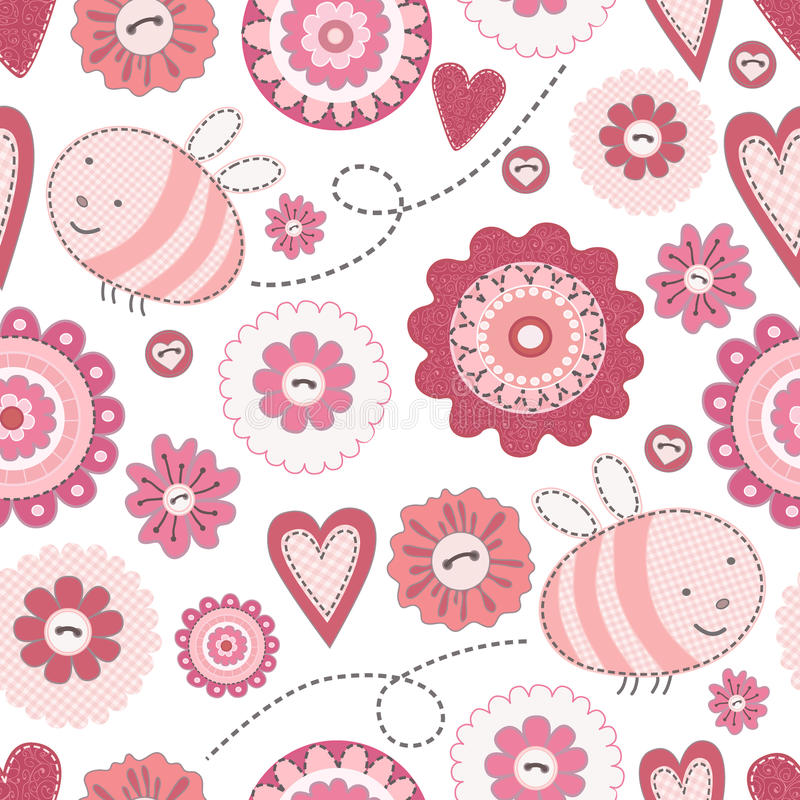 Seamless Cute Bee and Flowers. Patchwork on the white background royalty free illustration