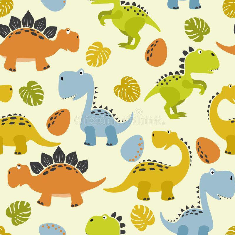 Seamless cute cartoon dinosaurs pattern. Vector colorful dino background vector illustration