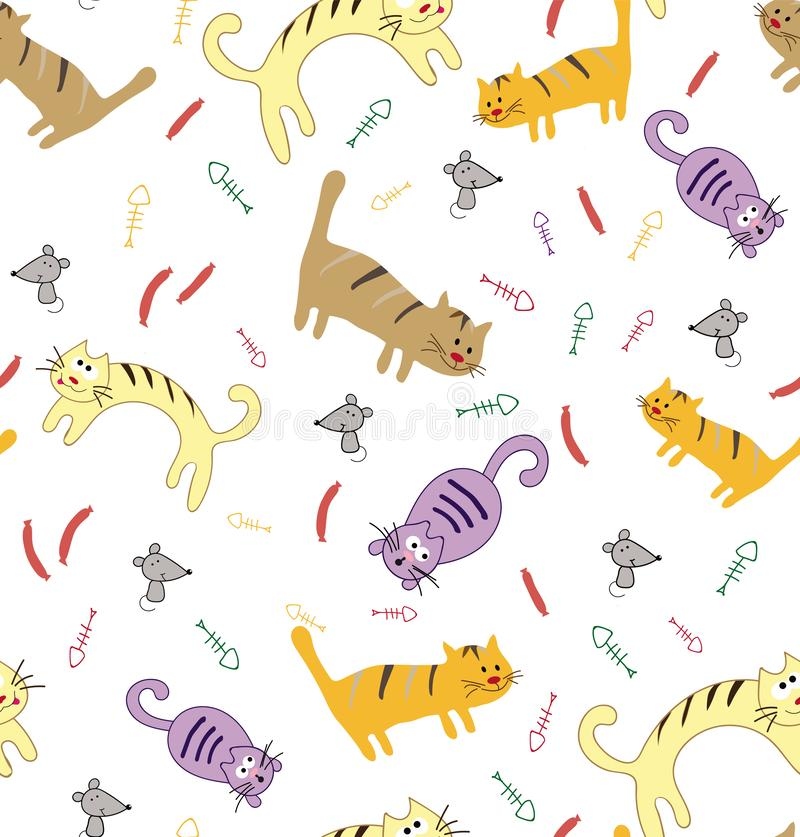 Seamless pattern with funny cute colorful cats. stock illustration