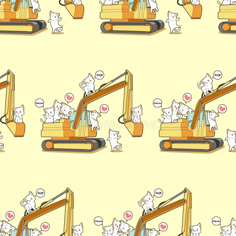 Seamless cute cats and the tractor pattern vector illustration