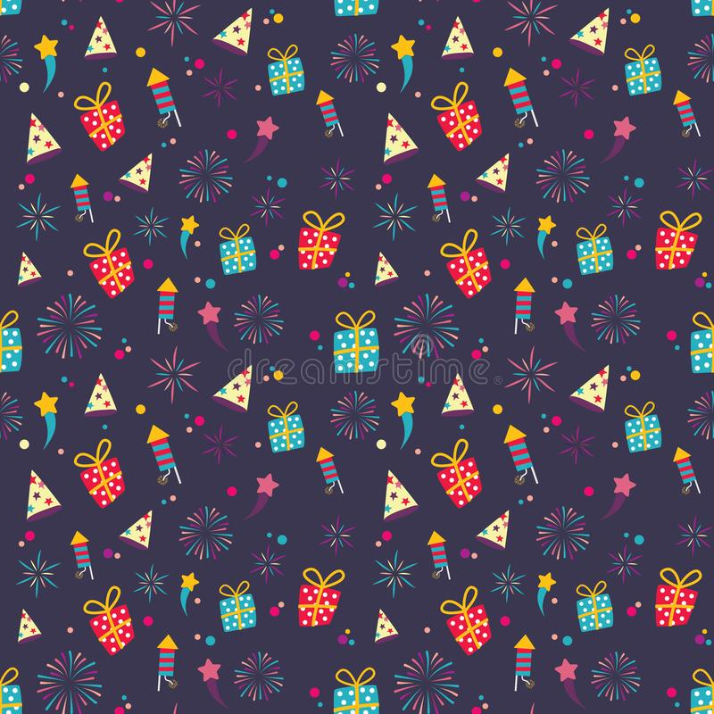 Seamless cute color gift wrapper pattern on purple background royalty free illustration