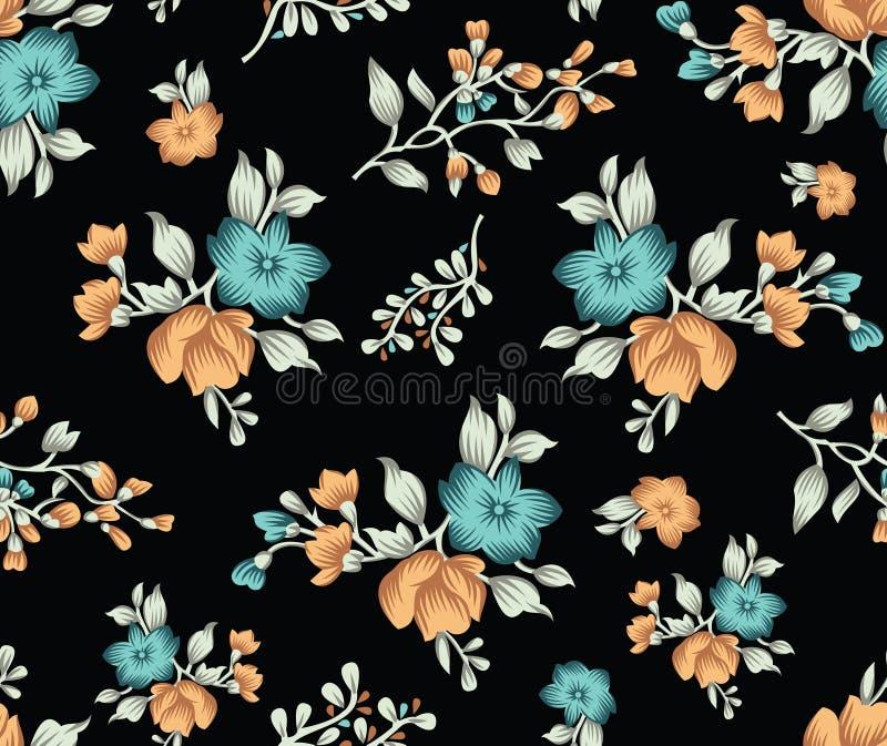 Seamless cute dark textile floral pattern vector illustration