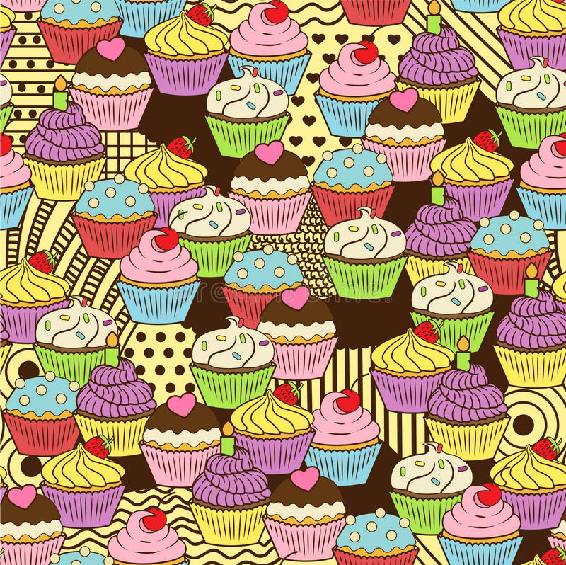 Seamless cute delicious cupcake doodle pattern. It includes yummy deserts with icing, cherry, strawberry, cream. Chocolate, sprinkles, etc royalty free illustration