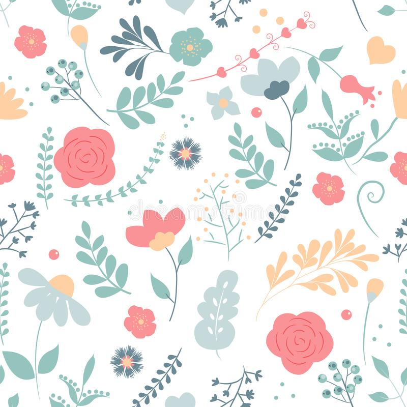 Seamless cute floral vector pattern background. Flower pattern on white background. vector illustration