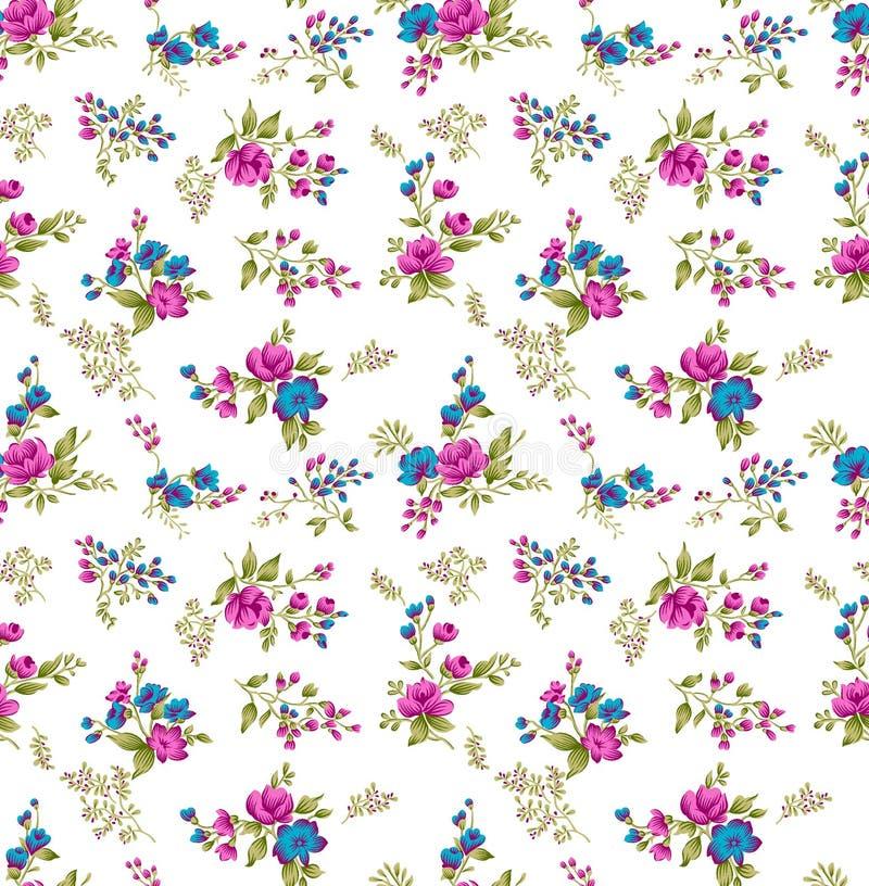 Seamless cute flower pattern design on white background vector illustration