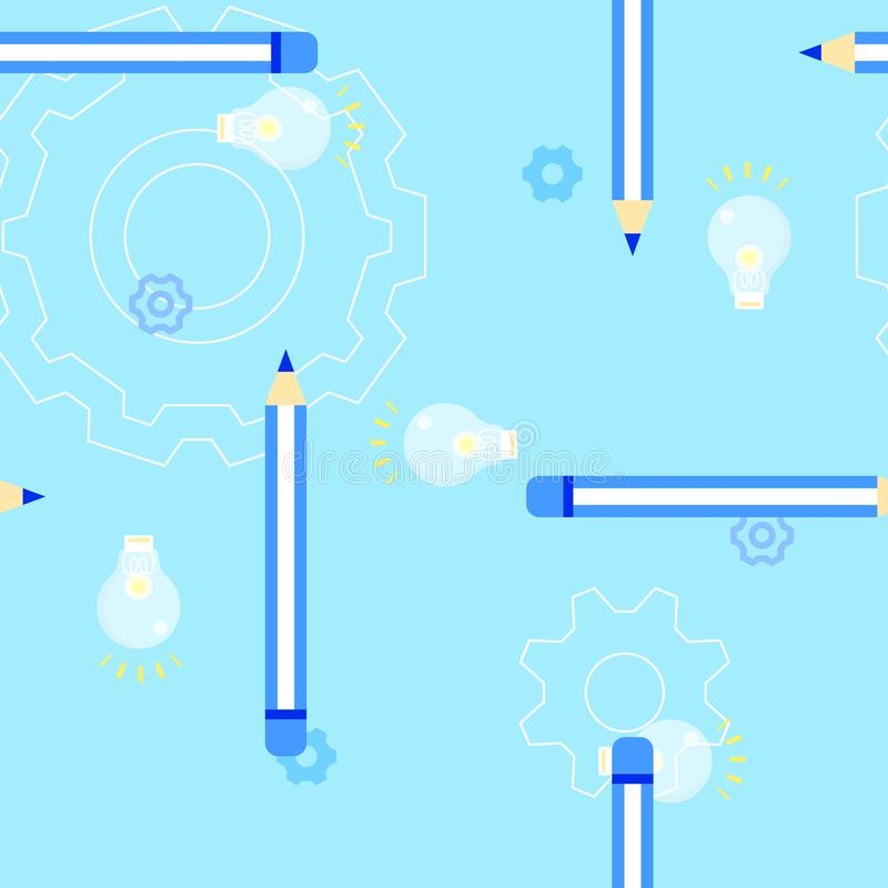 Seamless cute light bulb with pencil wood color back to school education concept repeat pattern in bright blue background vector illustration