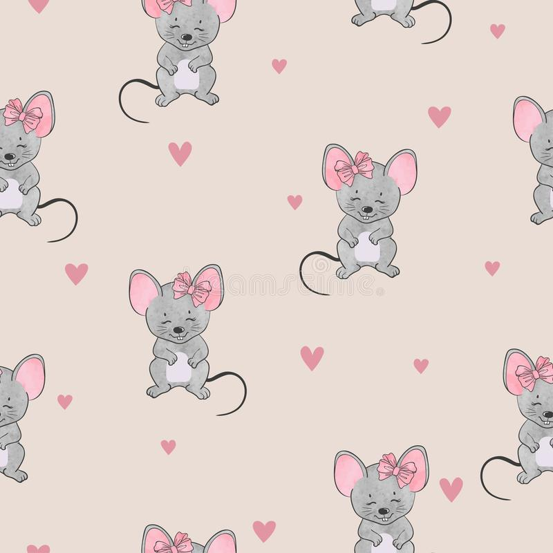 Seamless cute mice pattern. Vector watercolor mouse background. For kids vector illustration
