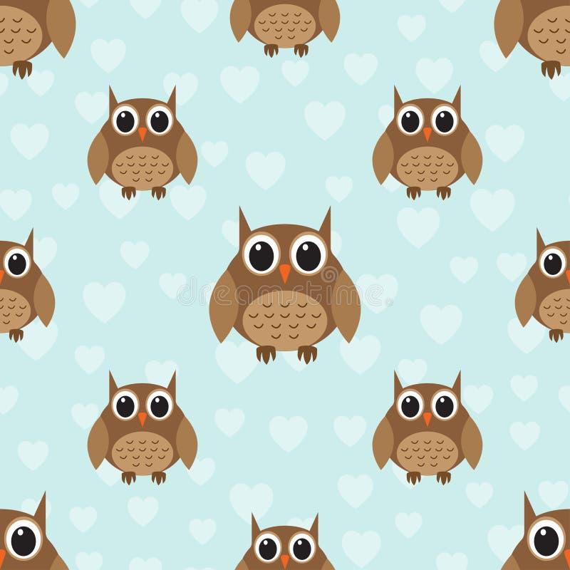 Seamless cute owl pattern stock illustration